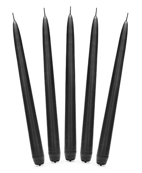 10 Taper Candles Black 24cm
