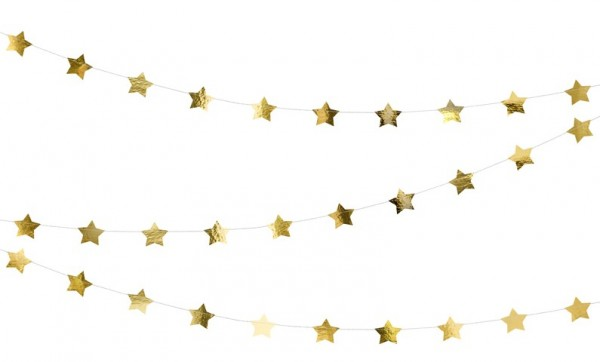 Golden metallic stars garland 3,6m