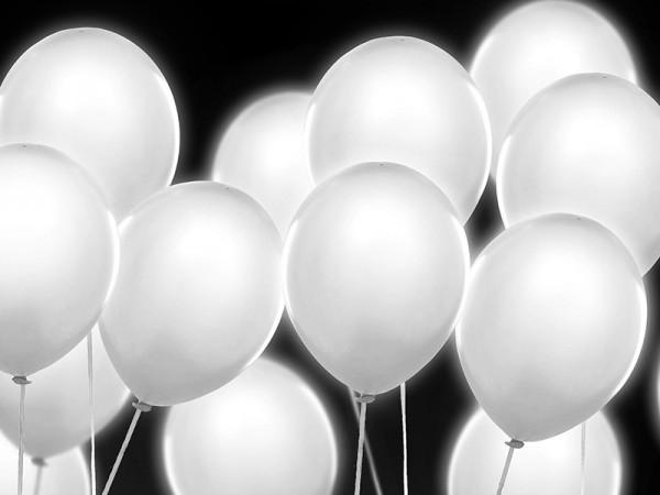 5 LED balloons white 30cm