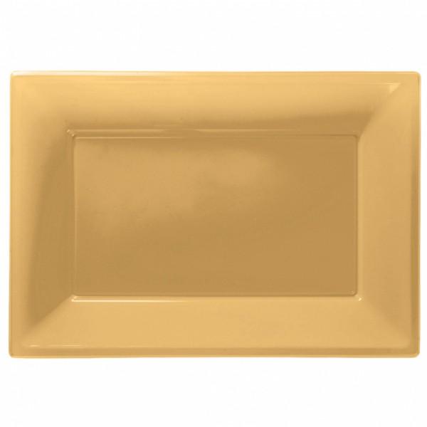3 złote talerze do serwowania 33 x 23 cm