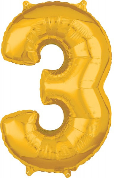 Number balloon 3 in gold 43 x 66cm