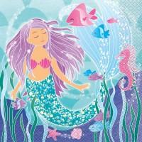 16 Zauberhafte Meerjungfrau Sirena Servietten 33cm
