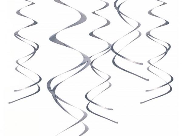 5 perchas de espiral metalizadas plateadas 60cm