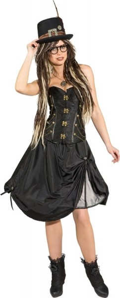 Retro steampunk corset black