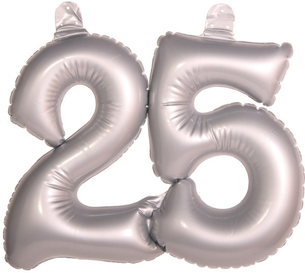 Palloncino Foil numero 25 per il matrimonio d'argento 45 cm