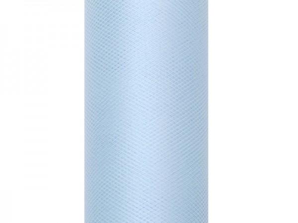 Tule stof Luna pastelblauw 20m x 8cm