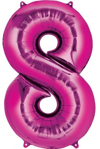 Pink number 8 foil balloon 41cm