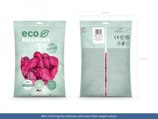 100 Eco Pastell Ballons pink 26cm