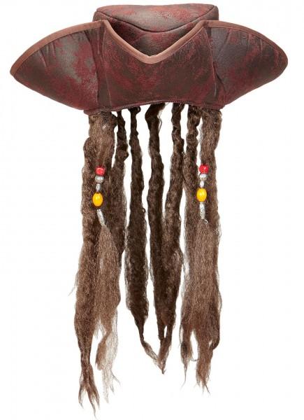 Chapeau de pirate Gilman avec cheveux aspect cuir