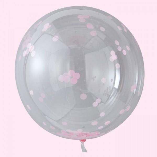 3 Hooray XL Konfettiballons rosa 91cm