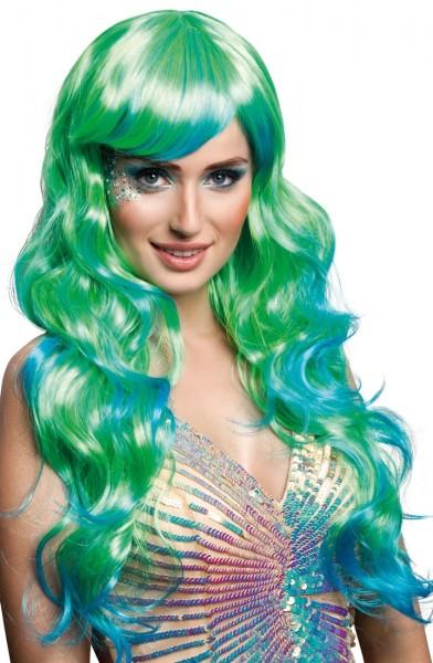 Perruque de conte de fées bleu-vert pour femme