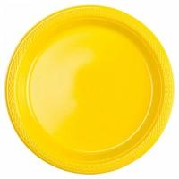 10 Kunststoffteller Partytime Gelb 23cm