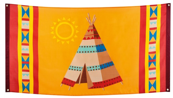 Bunte Indianer Tipi Flagge 150 x 90 cm