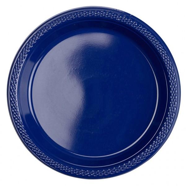 10 platos de plástico Partytime azul oscuro 17,7cm