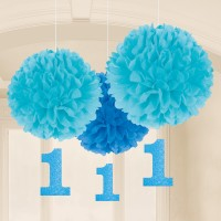 3 First Birthday Boy Pompons 40,6cm