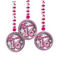 3 Blingbling Sweet 16 Spiralhänger