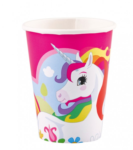 8 vasos de papel Magical Unicorn Rainbow Sparkle 266ml