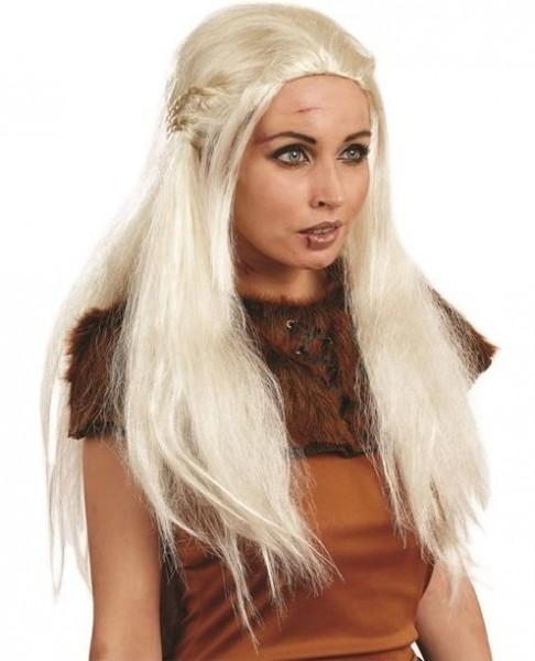 Weißblonde Drachenkönigin Perücke