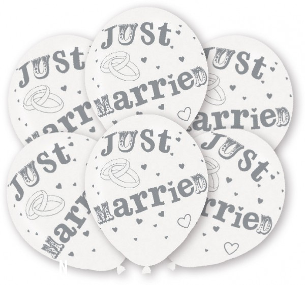 6 just married balloons 27.5cm
