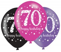 6 Pink 70th Birthday Ballons 27,5cm