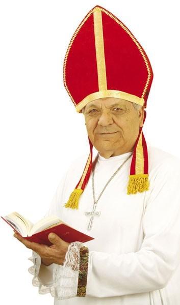 Samtige Bischofsmütze In Rot-Gold