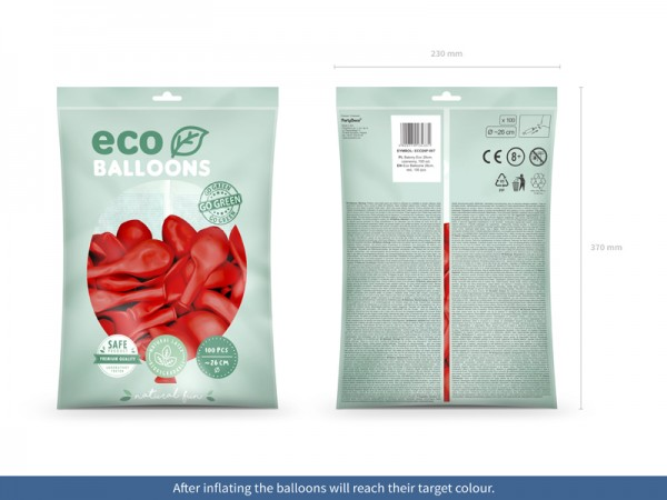 100 Eco Pastell Ballons rot 26cm