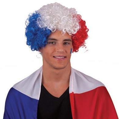 Frankreich Fan Afro Perücke