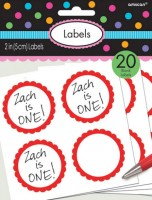 20 self-adhesive labels with red flower border