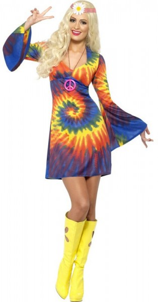 Colorful hippie dress with trumpet sleeves