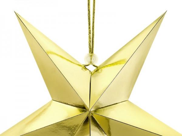 Étoile en papier réfléchissant en or 30cm