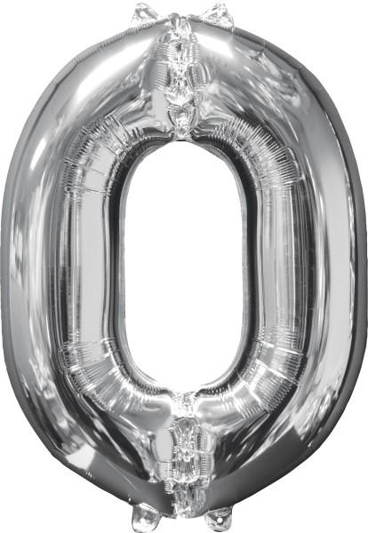 Folienballon Zahl 0 Silber 66cm