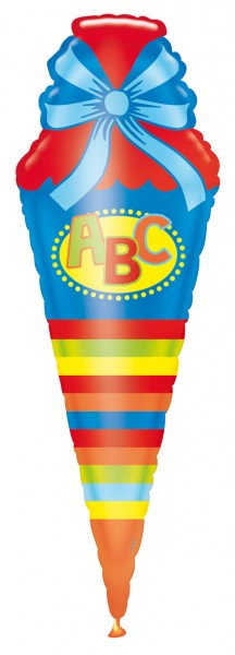 Colorful school cone foil balloon 35cm x 1.11m