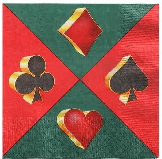 20 serviettes de fête casino 33cm