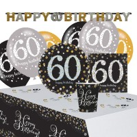 Golden 60th Birthday Deko Set 41-teilig