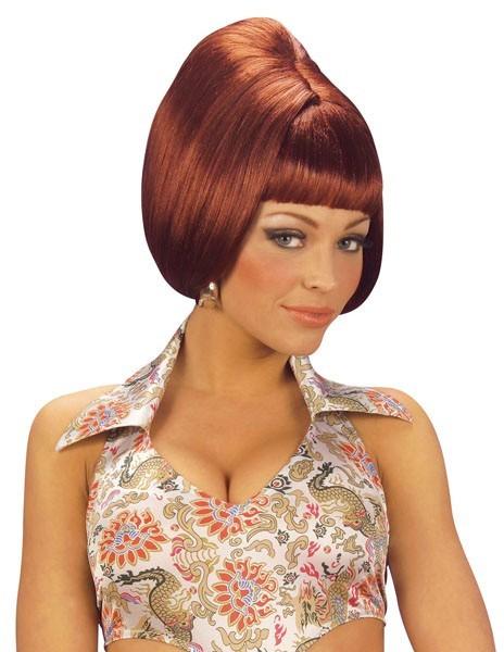 70'erne røde kvindelige bob parykk