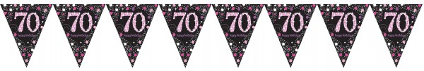 Pink 70th Birthday Wimpelkette 4m