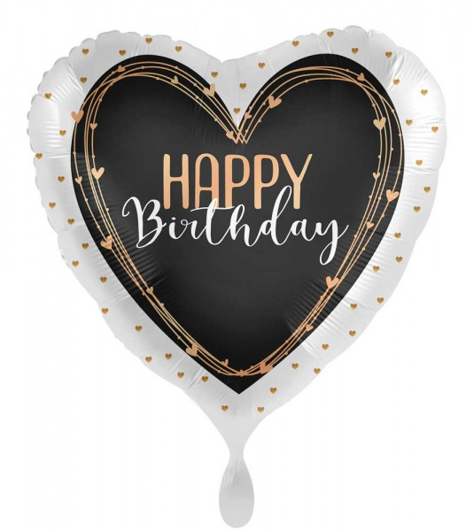 Ballon en aluminium coeur Happy Birthday 45cm