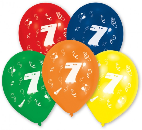 10 balloons number 7 colorful