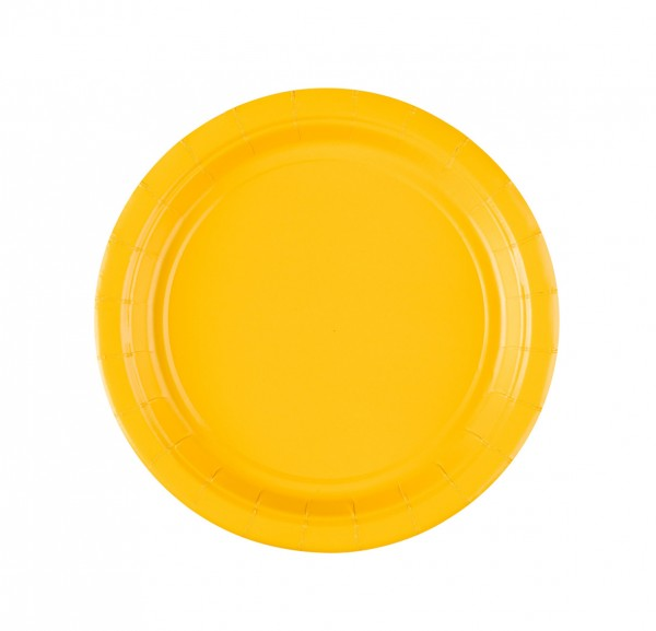 8 assiettes en carton Partytime Yellow 17,7cm
