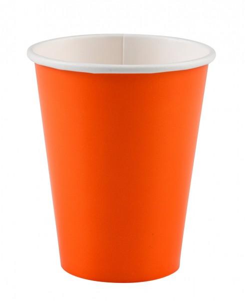 8 gobelets en papier pour buffet de fête orange 266ml