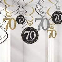 12 Golden 70th Birthday Spiralhänger 45cm