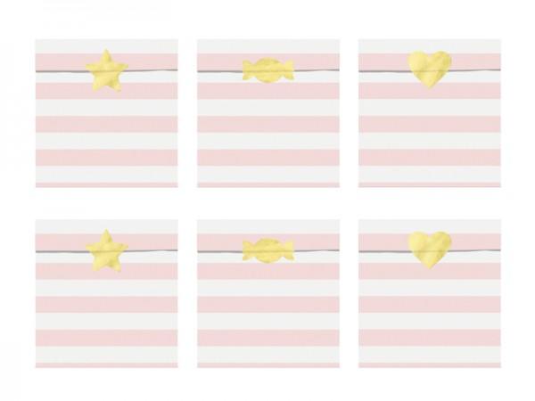 6 Candy Party Geschenktüten hellrosa