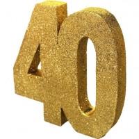 Tischdeko glitzernde Zahl 40 gold 20cm