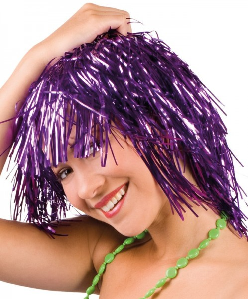Crazy Purple Tinsel Wig For Women