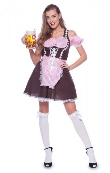 Dirndl Kostüm Lieschen in Braun-Rosa