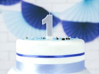 Number 1 cake candle silver gloss 7cm