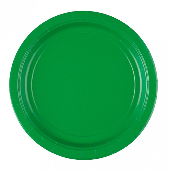 8 platos de papel Partytime Green 22,8cm