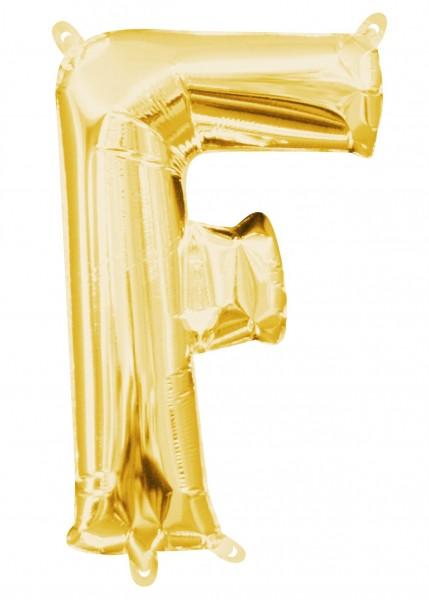 Mini foil balloon letter F gold 35cm