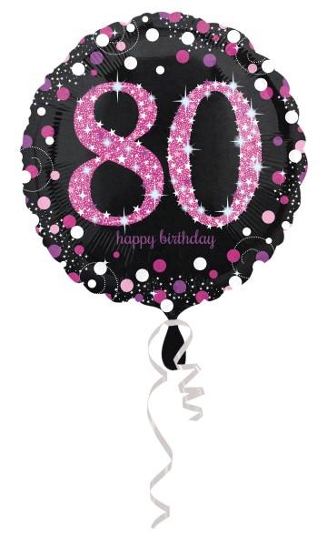 Pink 80th Birthday foil balloon 43cm