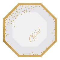 6 platos de papel Golden Wishes 20cm